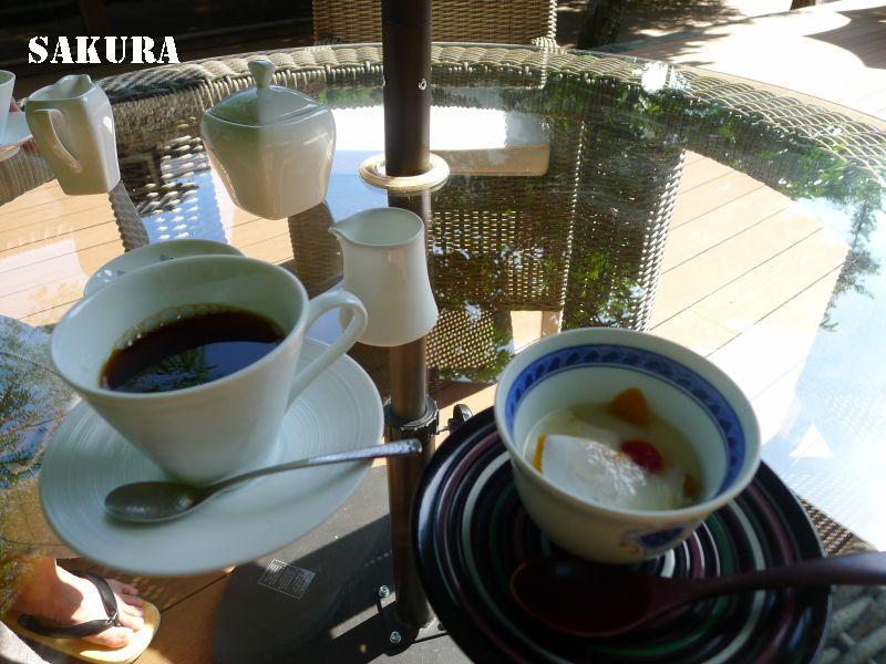 修善寺と伊豆・吉奈温泉の旅⑤東府や Resort&Spa Izu 朝食 備長炭で炙りながら食べる焼き海苔が美味。食後のコーヒーは水音テラスにて。