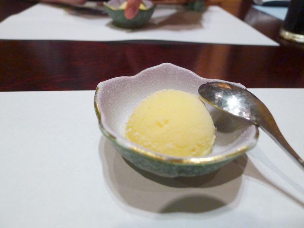 箱根塔ノ沢温泉_山の茶屋 夕食口直しのシャーベット