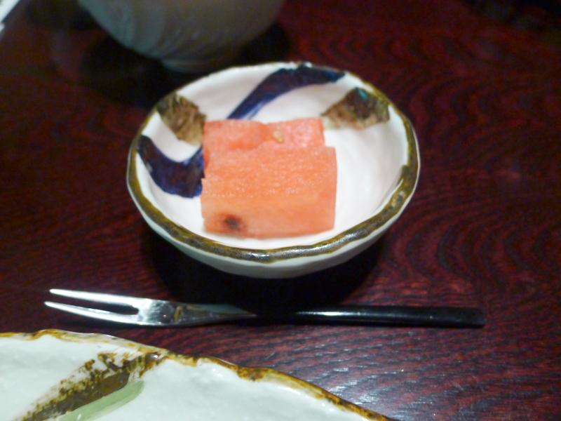 箱根塔ノ沢温泉_山の茶屋 朝食 デザートのすいか
