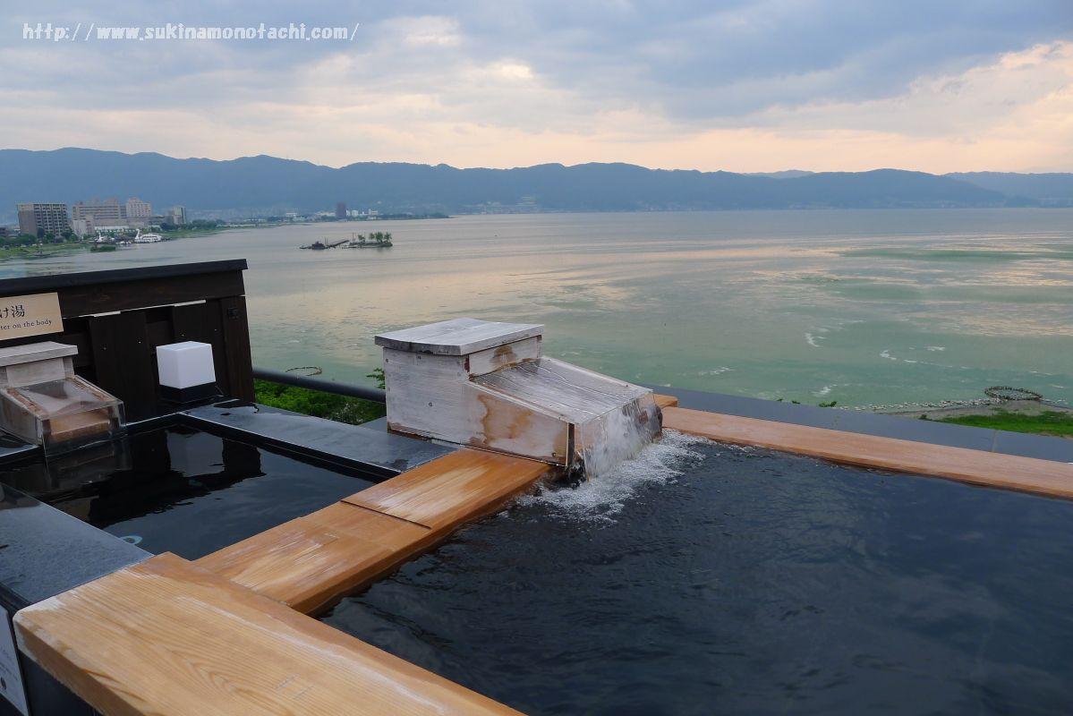 萃 sui-諏訪湖(すい すわこ)の展望露天風呂「綿雫」は源泉かけ流し