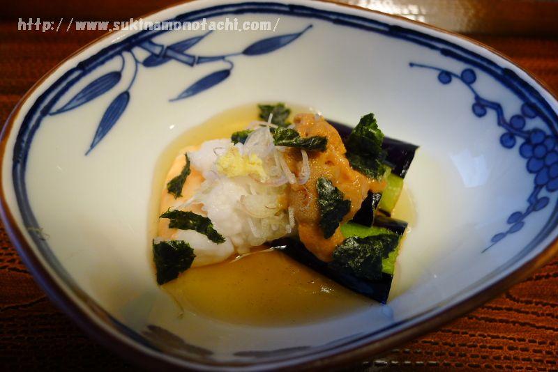 萃 sui-諏訪湖(すい すわこ)の個室食事処でいただく夕食「揚げ茄子のべっこう餡かけ」