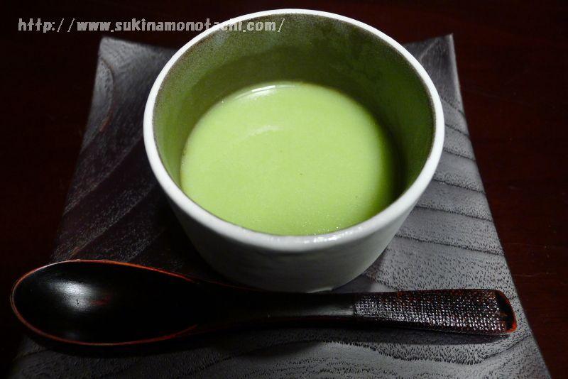 萃 sui-諏訪湖(すい すわこ)の個室食事処でいただく夕食  黒糖ゼリー蚕豆ソース