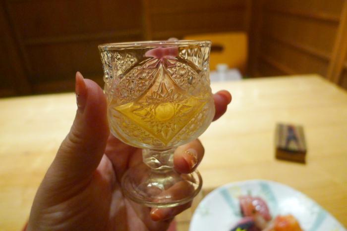 ねの湯 対山荘の夕食の食前酒(梅酒)