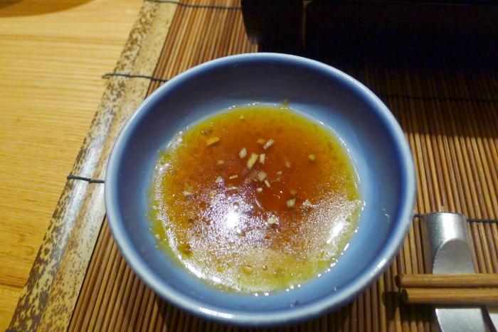 ねの湯 対山荘の夕食の焼き物の葱ソース