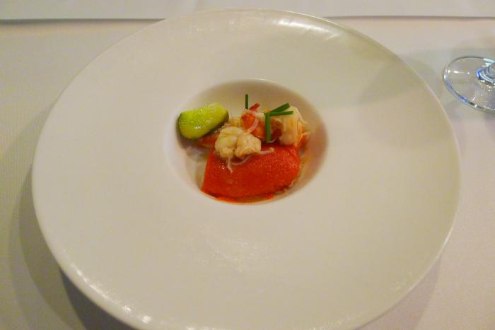オーベルジュ湯楽の夕食、前菜一皿目