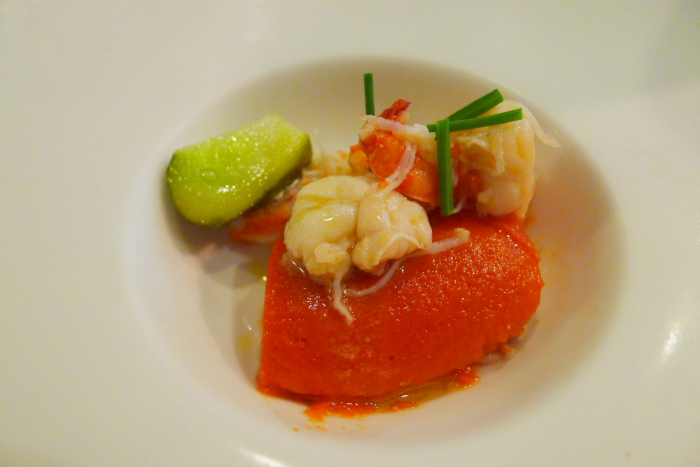 オーベルジュ湯楽の夕食、色鮮やかな前菜