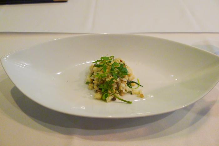 オーベルジュ湯楽の温菜皿、リゾット