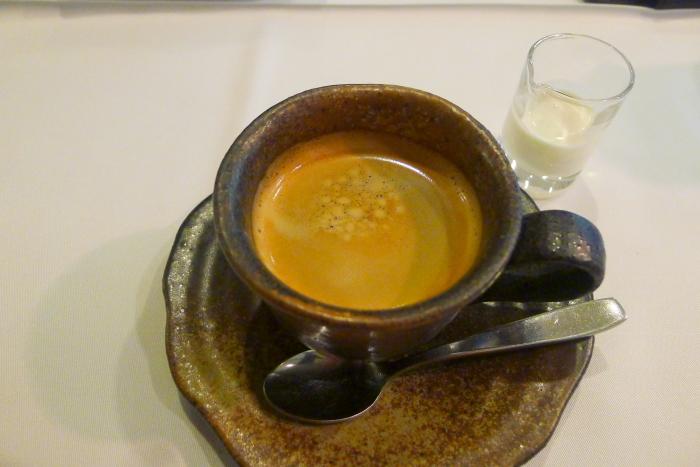 オーベルジュ湯楽の食後のコーヒー