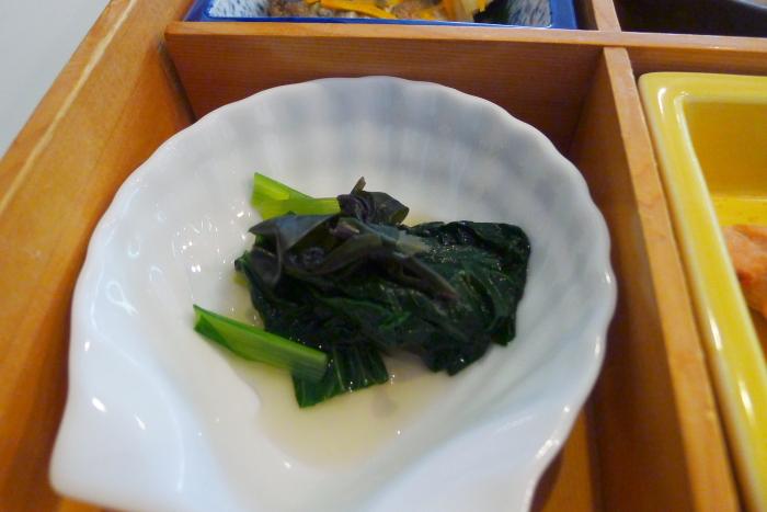 オーベルジュ湯楽の朝食、小松菜と金時草のお浸し