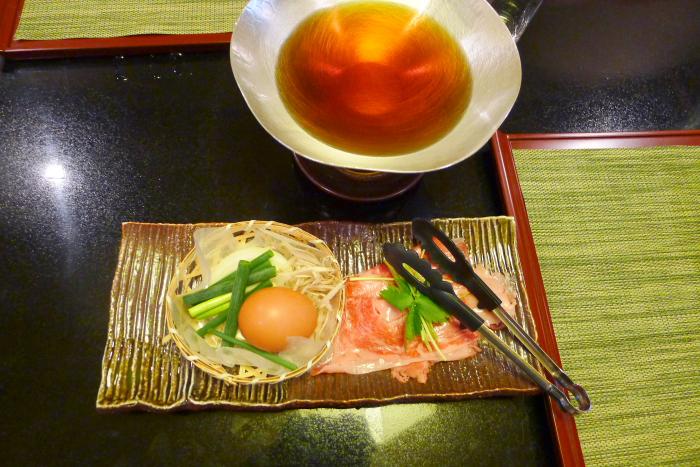 皆生温泉松月の夕食、すき焼き