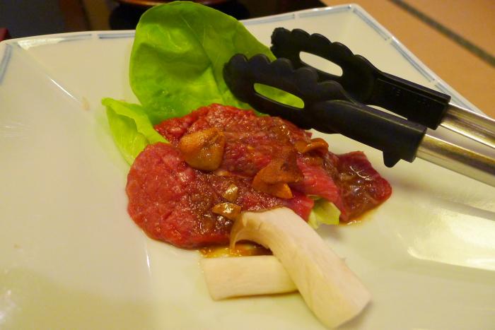 皆生温泉松月の夕食、メイン料理の鳥取県産和牛の溶岩焼き