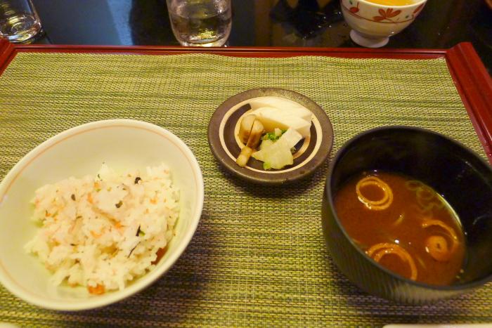 皆生温泉松月の夕食、食事、香の物、止め碗