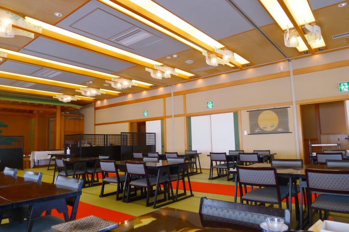 皆生温泉の松月の朝食の食事会場
