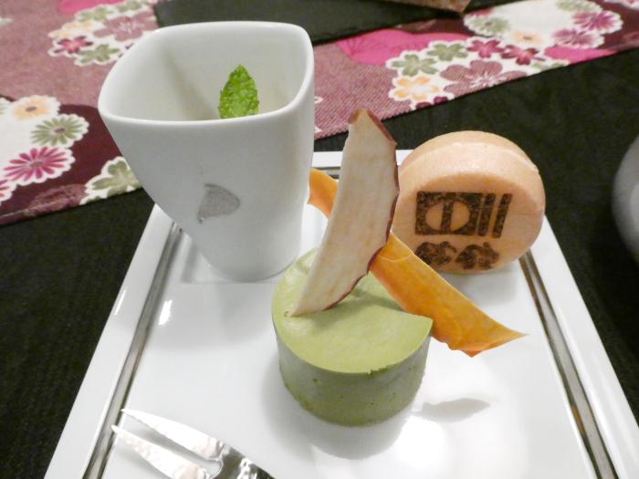 オーベルジュ鈴鐘_夕食 スイーツのアイスもなかと抹茶ムース