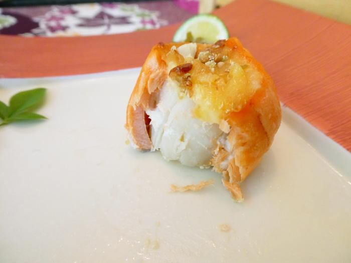 オーベルジュ鈴鐘_朝食の帆立とトロサーモンの木の芽焼き