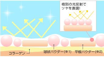 クリアエステヴェールは形と大きさの異なるパウダーが光反射をする
