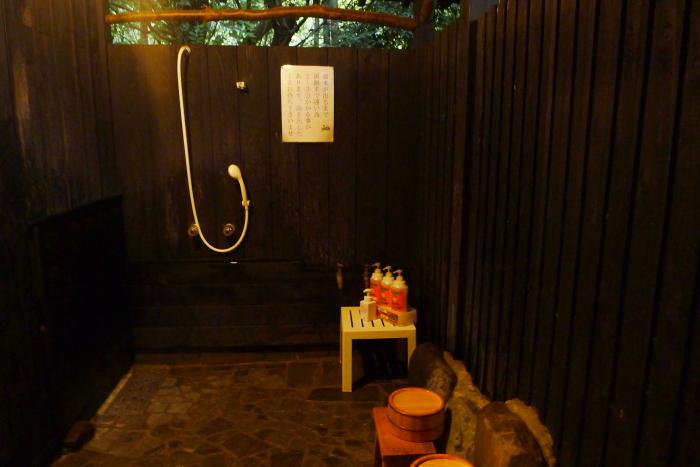オーベルジュ湯楽 貸切露天風呂の洗い場