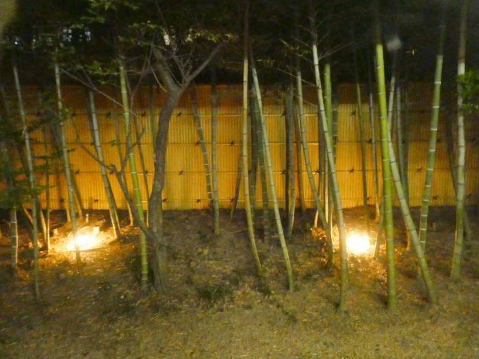 オーベルジュ鈴鐘 ライトアップされた竹林
