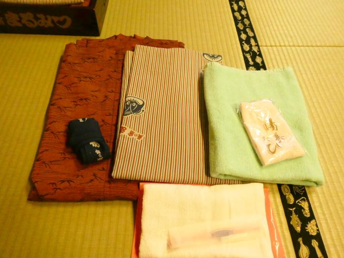 あんこうの宿まるみつ旅館 部屋の浴衣とタオル