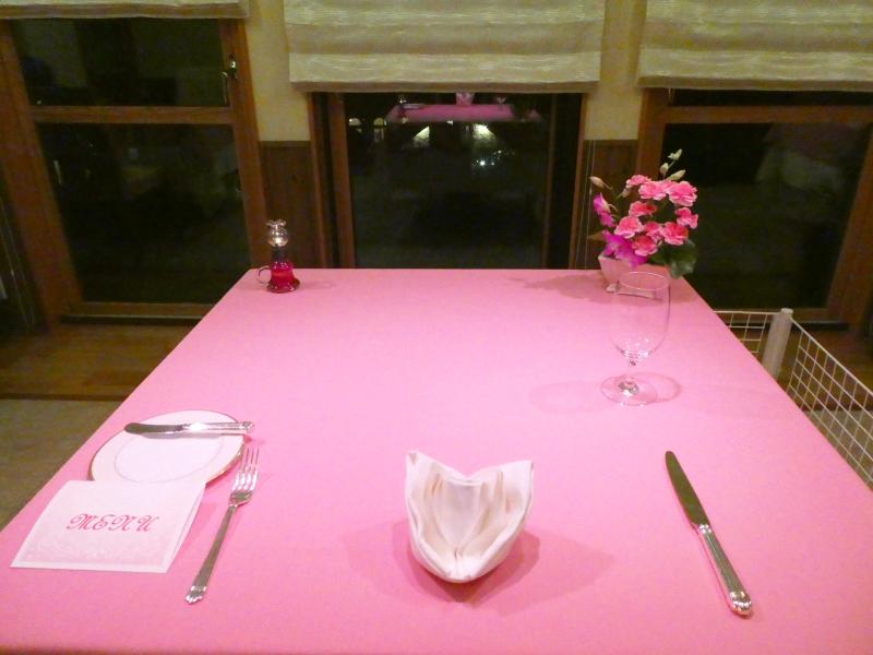 オーベルジュミヨーの夕食 テーブルセッティング