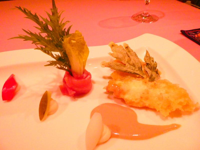 オーベルジュミヨーの夕食 オードブルの盛合わせ 真鯛とアシタバのフリット