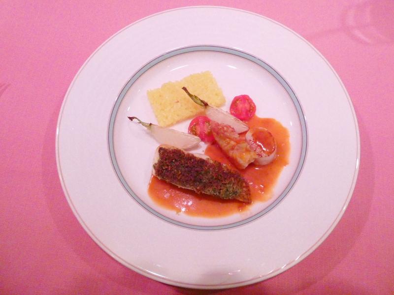オーベルジュミヨーの夕食 本日の魚料理「真鯛の香草バター焼き」