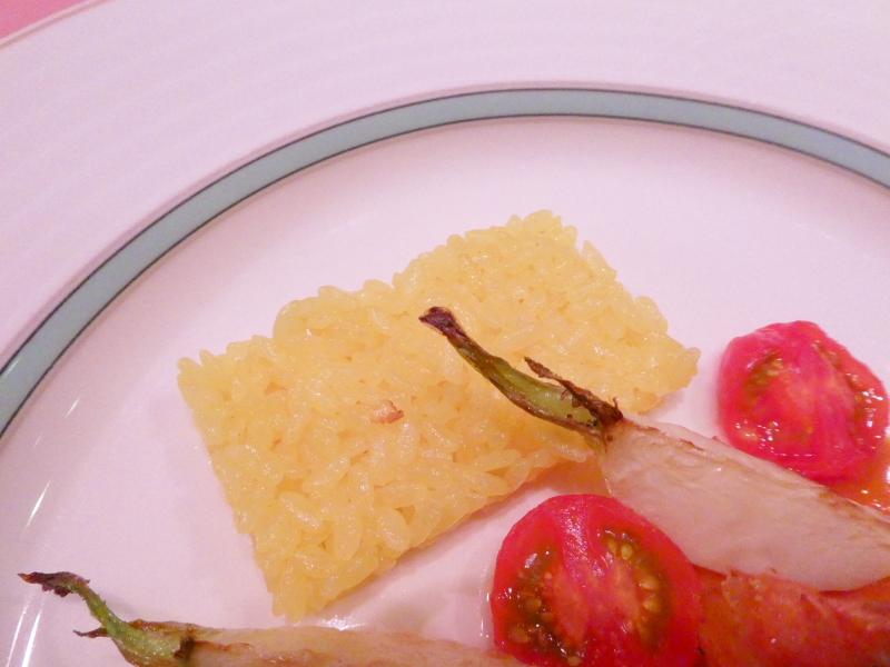 オーベルジュミヨーの夕食 本日の魚料理 サフランライス