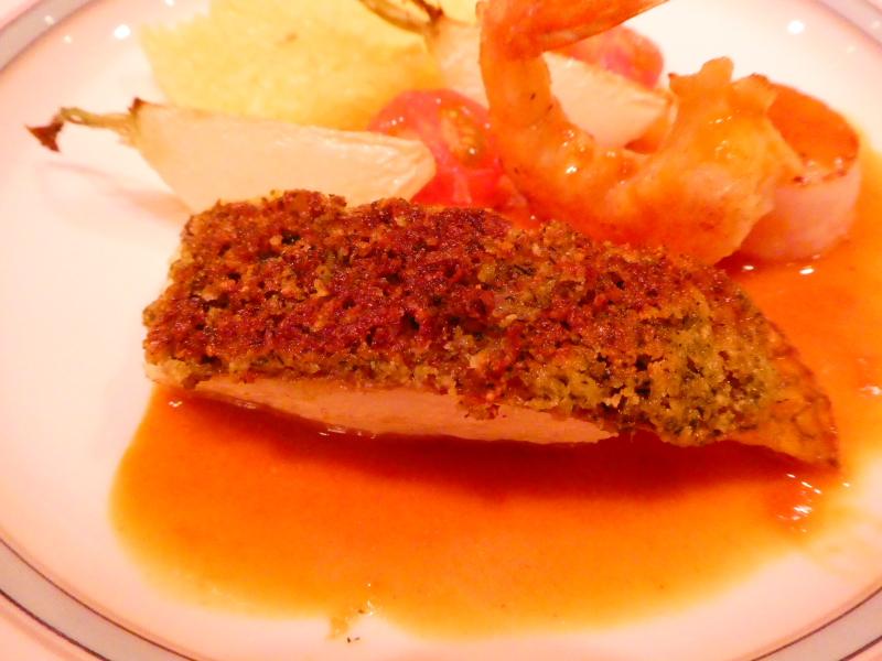 オーベルジュミヨーの夕食 本日の魚料理 真鯛に香草バター焼き