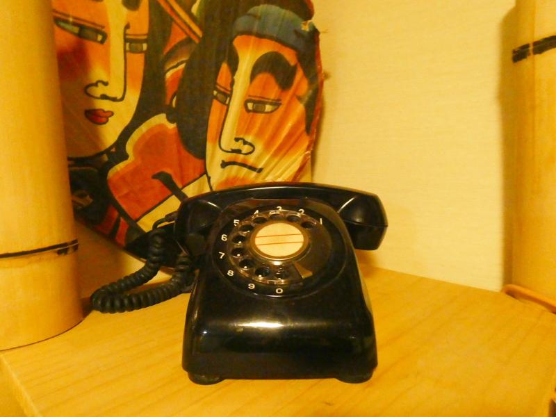 平潟港温泉あんこうの宿まるみつの大浴場和室風呂の脱衣所にある黒電話