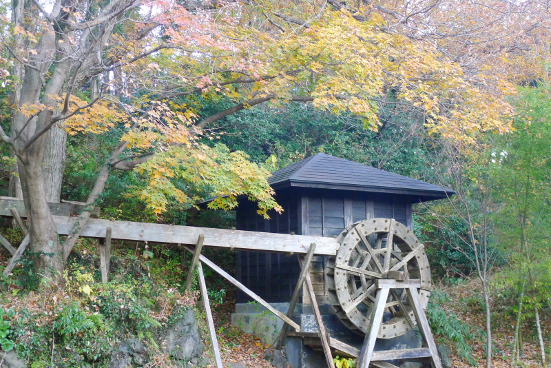 伊豆高原_きらの里の水車と池