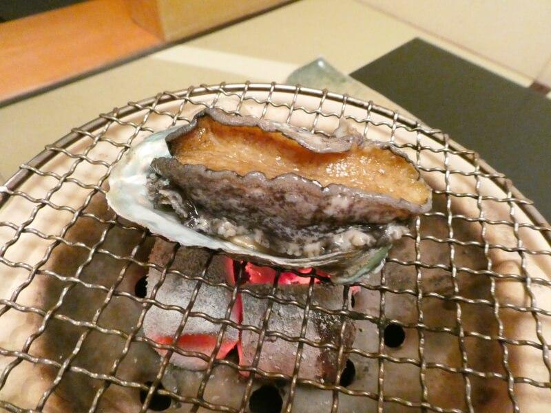 伊豆高原_茄子のはな 夕食のあわびの丸焼き