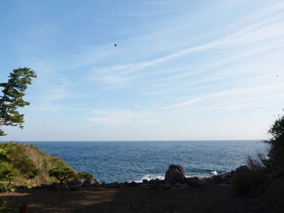 伊豆_蓮着寺 奥院の前に広がる海