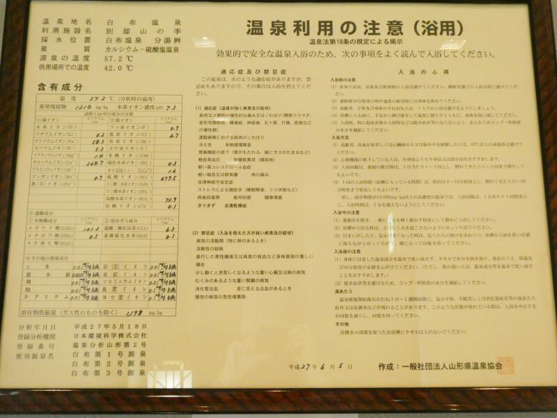 白布温泉_別邸山の季 温泉成分表